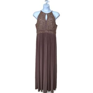 Nightway Women's Lace Halter Gown Dress Taupe 18W